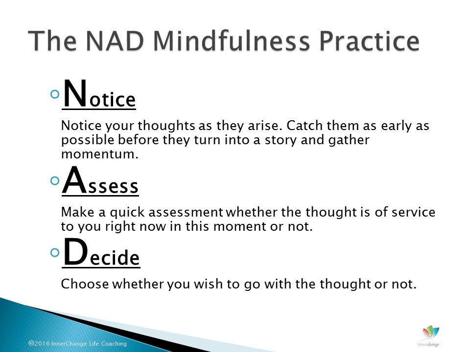 Notice Assess Decide mindfulness practice