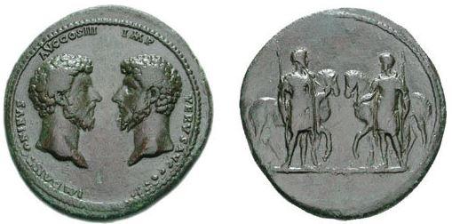 Co-emperors MARCUS AURELIUS and LUCIUS VERUS coin